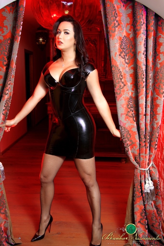 bianka likes to get freaky in a seductive latex skirt