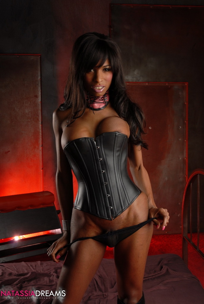 sensuous ebony t girl natassia posing in hot black corset