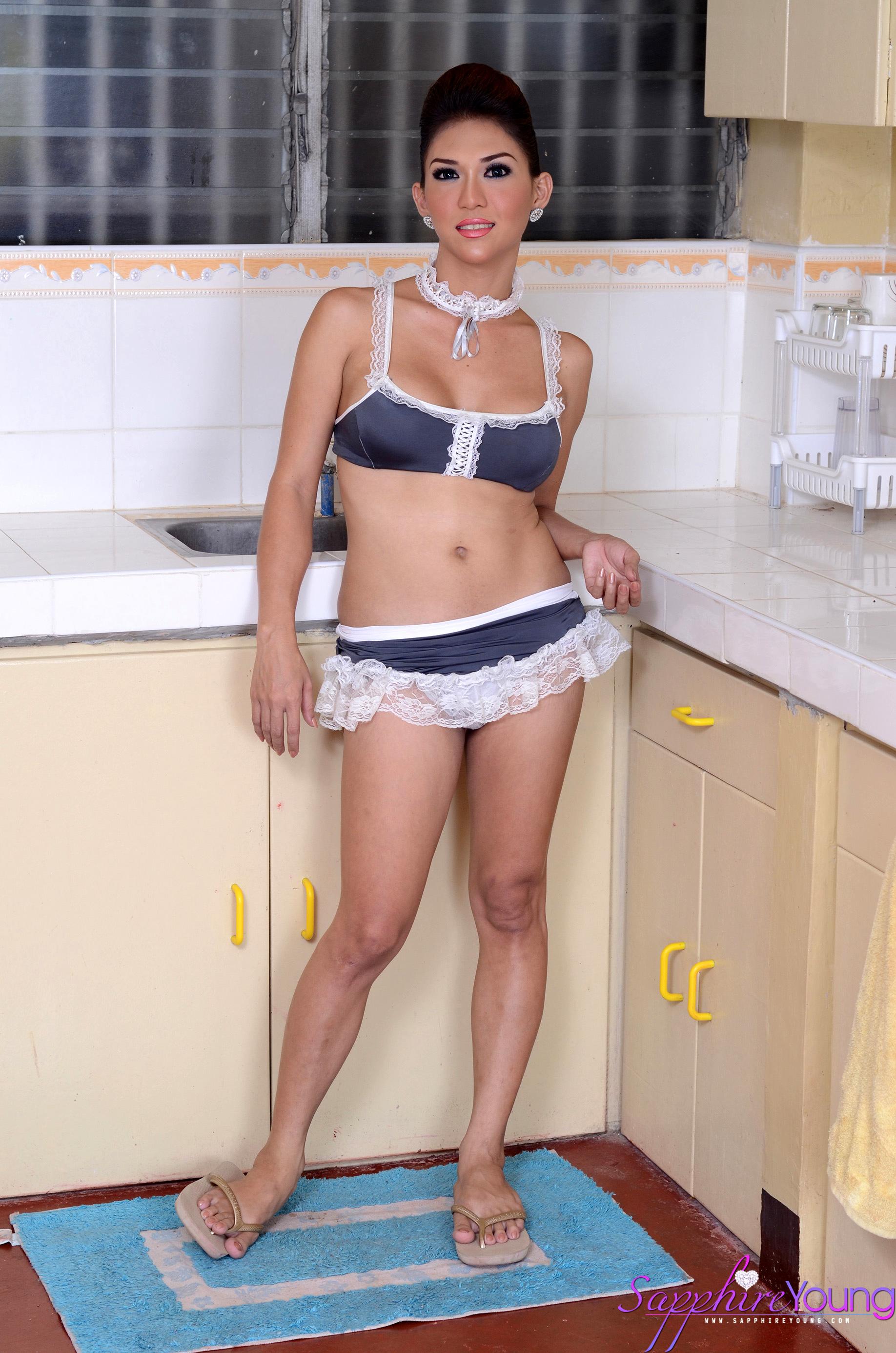 very feminine thai transexual with massive breasts masturbate
